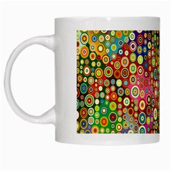 Multicolored Retro Spots Polka Dots Pattern White Mugs by EDDArt