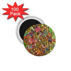 Multicolored Retro Spots Polka Dots Pattern 1 75  Magnets (100 Pack)  by EDDArt