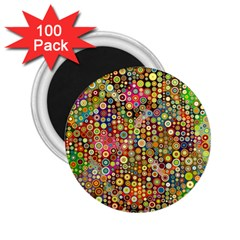 Multicolored Retro Spots Polka Dots Pattern 2 25  Magnets (100 Pack)  by EDDArt