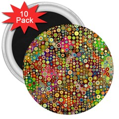 Multicolored Retro Spots Polka Dots Pattern 3  Magnets (10 Pack)  by EDDArt