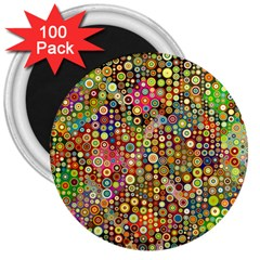 Multicolored Retro Spots Polka Dots Pattern 3  Magnets (100 Pack) by EDDArt