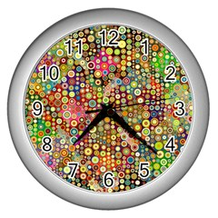 Multicolored Retro Spots Polka Dots Pattern Wall Clocks (silver)  by EDDArt