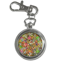 Multicolored Retro Spots Polka Dots Pattern Key Chain Watches by EDDArt