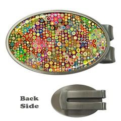 Multicolored Retro Spots Polka Dots Pattern Money Clips (oval)  by EDDArt