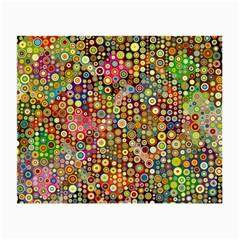 Multicolored Retro Spots Polka Dots Pattern Small Glasses Cloth by EDDArt