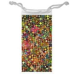 Multicolored Retro Spots Polka Dots Pattern Jewelry Bag by EDDArt
