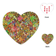 Multicolored Retro Spots Polka Dots Pattern Playing Cards (heart)  by EDDArt