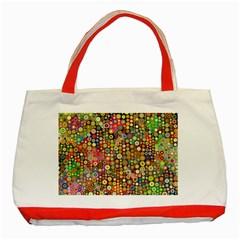 Multicolored Retro Spots Polka Dots Pattern Classic Tote Bag (red) by EDDArt