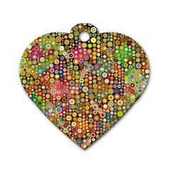 Multicolored Retro Spots Polka Dots Pattern Dog Tag Heart (one Side) by EDDArt