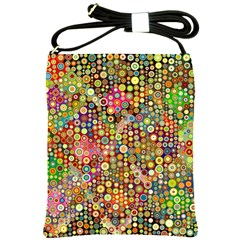 Multicolored Retro Spots Polka Dots Pattern Shoulder Sling Bags by EDDArt