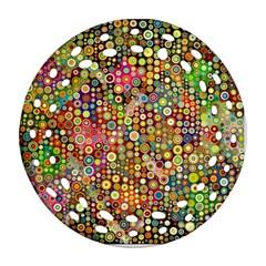 Multicolored Retro Spots Polka Dots Pattern Ornament (round Filigree) by EDDArt