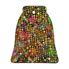 Multicolored Retro Spots Polka Dots Pattern Ornament (bell) by EDDArt