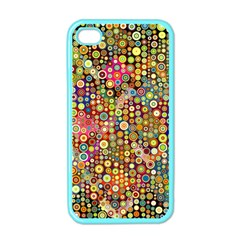 Multicolored Retro Spots Polka Dots Pattern Apple Iphone 4 Case (color) by EDDArt