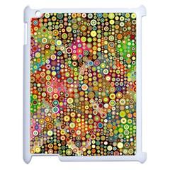 Multicolored Retro Spots Polka Dots Pattern Apple Ipad 2 Case (white) by EDDArt