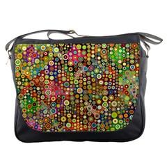 Multicolored Retro Spots Polka Dots Pattern Messenger Bags by EDDArt