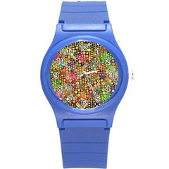 Multicolored Retro Spots Polka Dots Pattern Round Plastic Sport Watch (s) by EDDArt