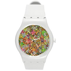 Multicolored Retro Spots Polka Dots Pattern Round Plastic Sport Watch (m) by EDDArt