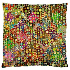 Multicolored Retro Spots Polka Dots Pattern Large Cushion Case (two Sides) by EDDArt