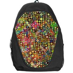 Multicolored Retro Spots Polka Dots Pattern Backpack Bag by EDDArt