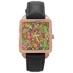 Multicolored Retro Spots Polka Dots Pattern Rose Gold Leather Watch  by EDDArt