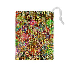 Multicolored Retro Spots Polka Dots Pattern Drawstring Pouches (large)  by EDDArt