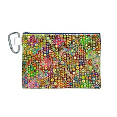 Multicolored Retro Spots Polka Dots Pattern Canvas Cosmetic Bag (m) by EDDArt