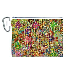 Multicolored Retro Spots Polka Dots Pattern Canvas Cosmetic Bag (l) by EDDArt