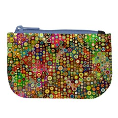 Multicolored Retro Spots Polka Dots Pattern Large Coin Purse by EDDArt