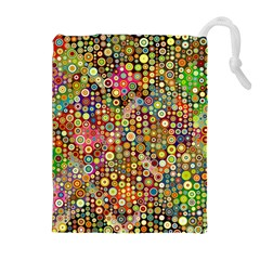 Multicolored Retro Spots Polka Dots Pattern Drawstring Pouches (extra Large) by EDDArt