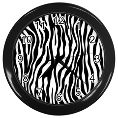 Zebra Stripes Pattern Traditional Colors Black White Wall Clocks (black) by EDDArt