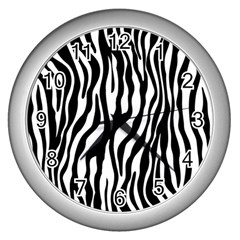 Zebra Stripes Pattern Traditional Colors Black White Wall Clocks (silver)  by EDDArt
