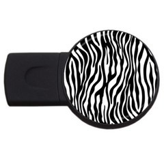 Zebra Stripes Pattern Traditional Colors Black White Usb Flash Drive Round (2 Gb) by EDDArt