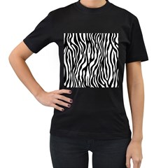 Zebra Stripes Pattern Traditional Colors Black White Women s T Shirt (black) (two Sided) by EDDArt