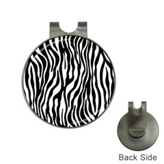Zebra Stripes Pattern Traditional Colors Black White Hat Clips With Golf Markers by EDDArt