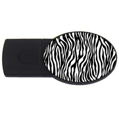 Zebra Stripes Pattern Traditional Colors Black White Usb Flash Drive Oval (4 Gb) by EDDArt