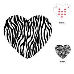 Zebra Stripes Pattern Traditional Colors Black White Playing Cards (heart)  by EDDArt