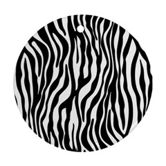 Zebra Stripes Pattern Traditional Colors Black White Round Ornament (two Sides) by EDDArt
