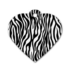 Zebra Stripes Pattern Traditional Colors Black White Dog Tag Heart (one Side) by EDDArt