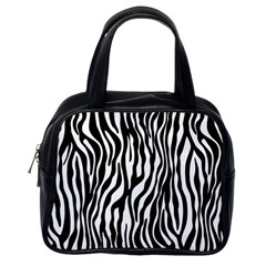 Zebra Stripes Pattern Traditional Colors Black White Classic Handbags (one Side) by EDDArt