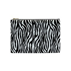 Zebra Stripes Pattern Traditional Colors Black White Cosmetic Bag (medium)  by EDDArt