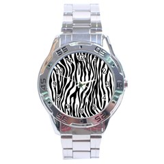 Zebra Stripes Pattern Traditional Colors Black White Stainless Steel Analogue Watch by EDDArt