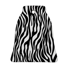 Zebra Stripes Pattern Traditional Colors Black White Ornament (bell) by EDDArt