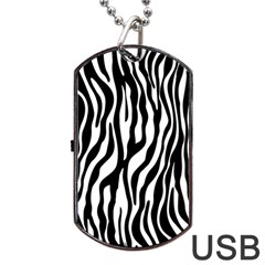 Zebra Stripes Pattern Traditional Colors Black White Dog Tag Usb Flash (one Side) by EDDArt