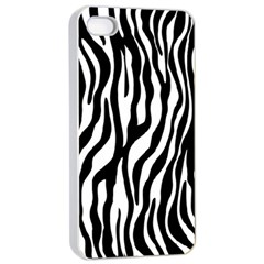 Zebra Stripes Pattern Traditional Colors Black White Apple Iphone 4/4s Seamless Case (white) by EDDArt
