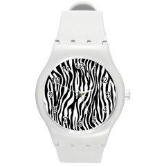 Zebra Stripes Pattern Traditional Colors Black White Round Plastic Sport Watch (m) by EDDArt