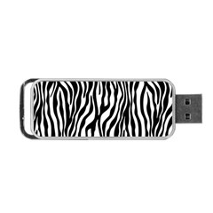Zebra Stripes Pattern Traditional Colors Black White Portable Usb Flash (one Side) by EDDArt