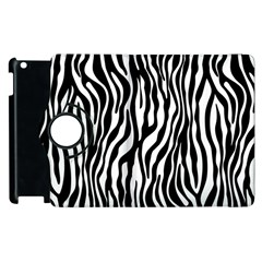 Zebra Stripes Pattern Traditional Colors Black White Apple Ipad 3/4 Flip 360 Case by EDDArt