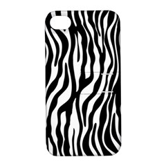 Zebra Stripes Pattern Traditional Colors Black White Apple Iphone 4/4s Hardshell Case With Stand by EDDArt