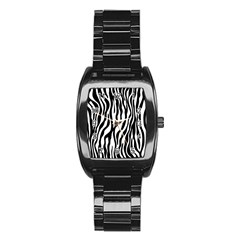 Zebra Stripes Pattern Traditional Colors Black White Stainless Steel Barrel Watch by EDDArt