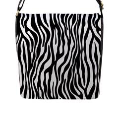 Zebra Stripes Pattern Traditional Colors Black White Flap Messenger Bag (l)  by EDDArt